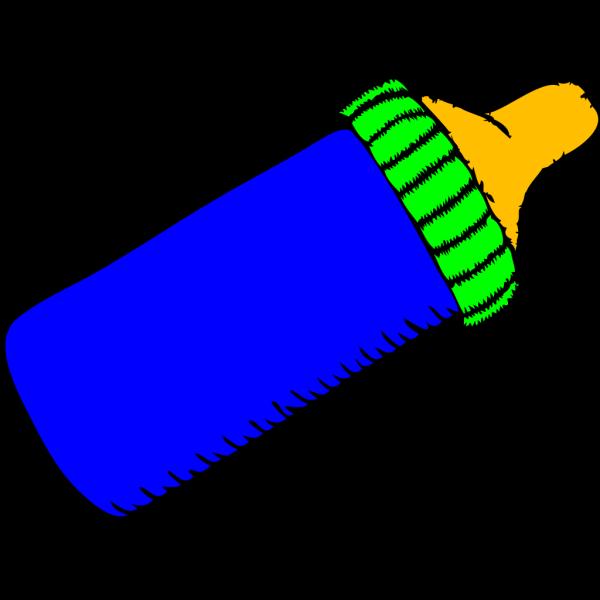 Baby Bottle Blue Green PNG Clip art