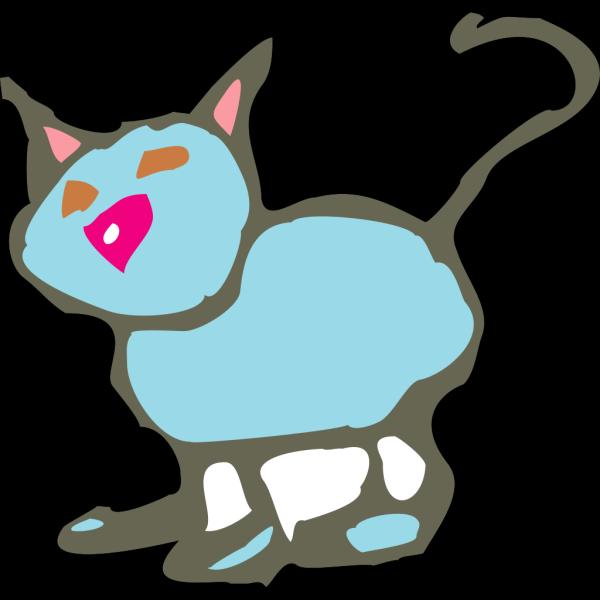 Blue Cartoon Cat PNG Clip art