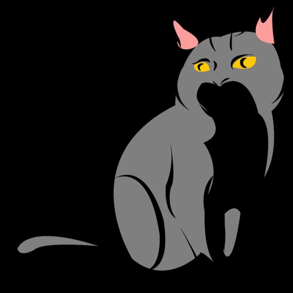 Stylized Gray Cat PNG Clip art