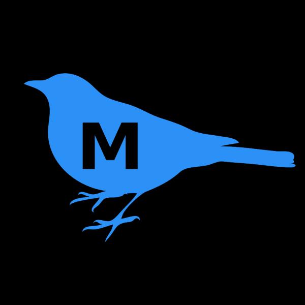 Blue Bird M Initial PNG Clip art