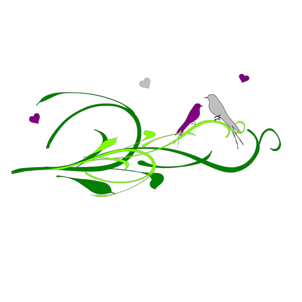 Love Birds On A Branch2222 PNG Clip art