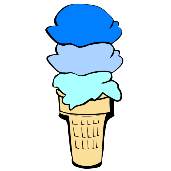 Ice Cream Cone Blue Scoops PNG Clip art