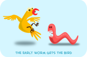 The Early Worm Gets The Bird PNG Clip art