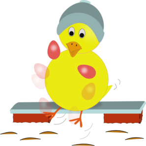 Easter Chick Kicking Eggs PNG Clip art