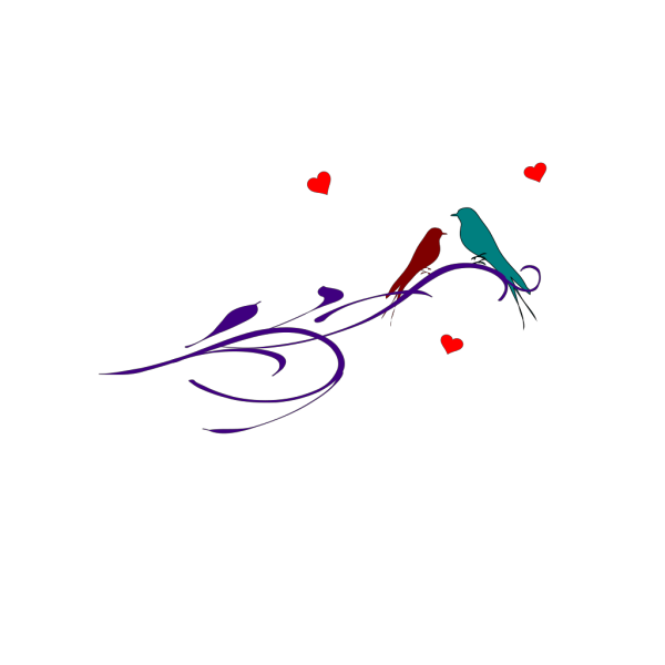 Love Birds On Branch PNG Clip art
