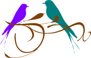 Love Birds Purple And Teal PNG Clip art