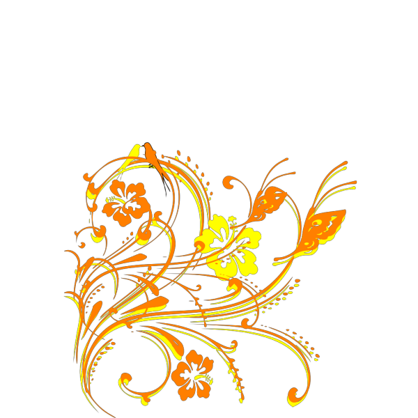 Butterfly Scroll With Birds And Hibiscus PNG Clip art