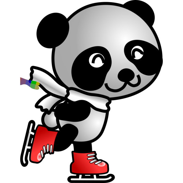 Skating Panda PNG Clip art