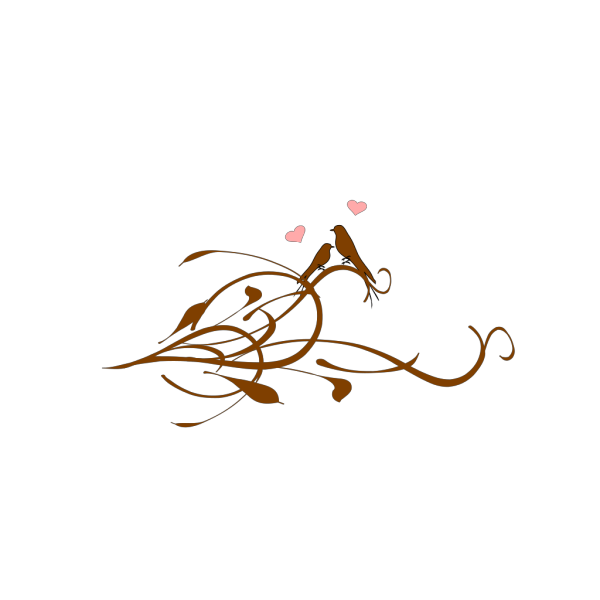 Love Birds On A Brown Branchlarge PNG Clip art