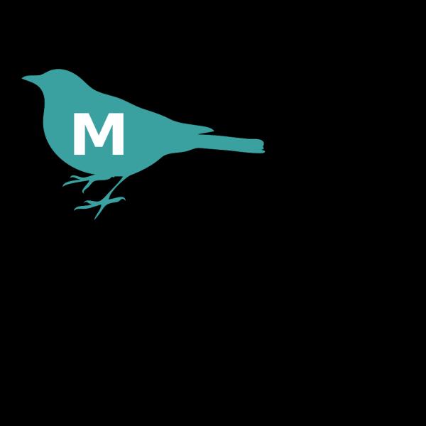 Teal Bird M Initial PNG Clip art