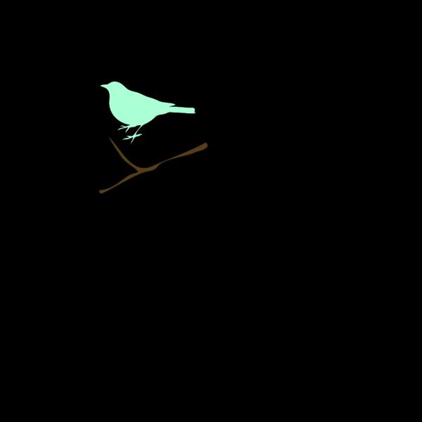 Green Bird On Twig PNG Clip art