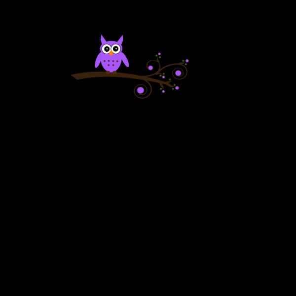 Purple Owl On Branch Brown Beak PNG Clip art