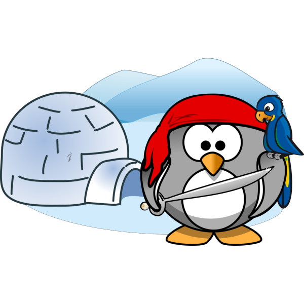 Penguin Pirate With Igloo PNG Clip art