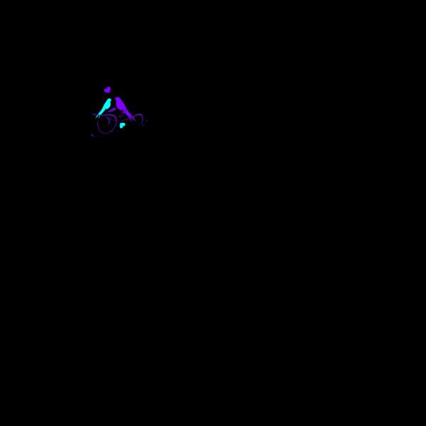 Birds On A Branch Aqua Purple PNG Clip art