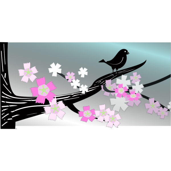 Bird On A Branch In Spring PNG Clip art