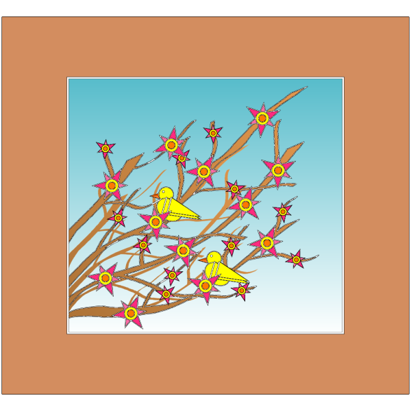 Branches Flowers And Birds PNG Clip art