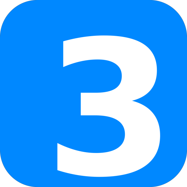 Number 3 In Light Blue Rounded Square PNG Clip art