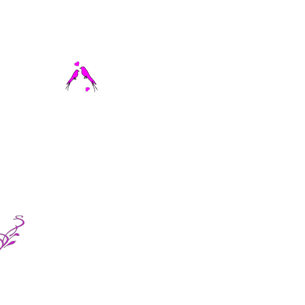 Birds On A Branch Pink PNG Clip art