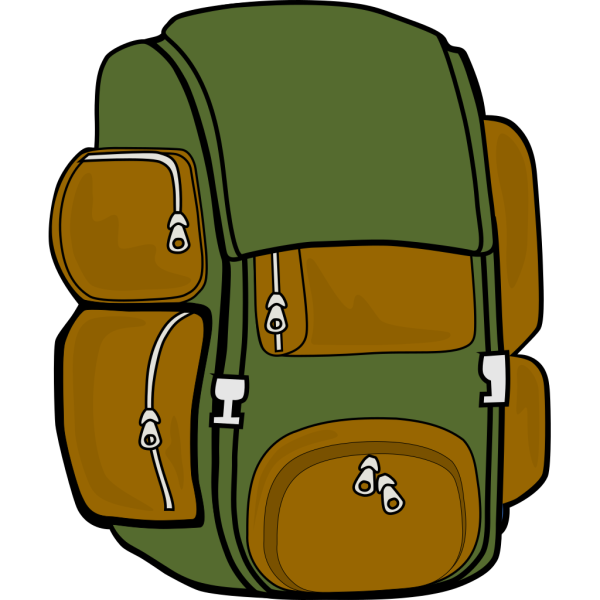 Backpack Green Brown PNG icon