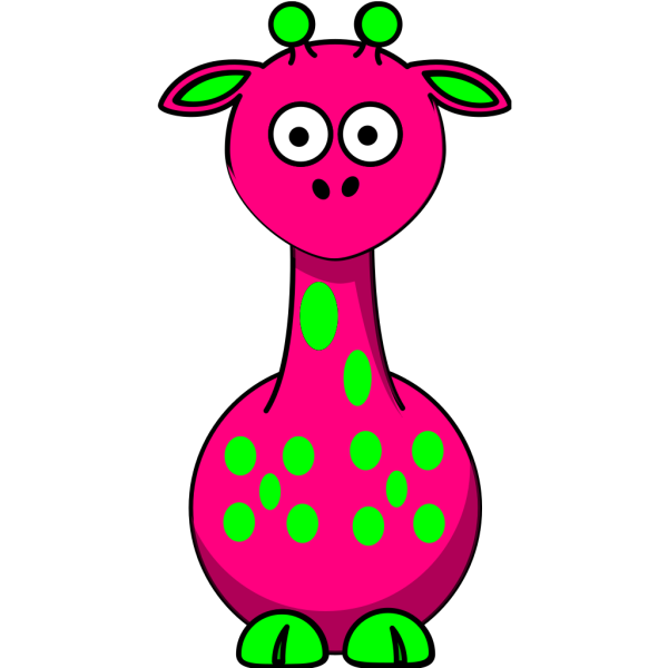 Pink Giraffe With 12 Dots PNG images