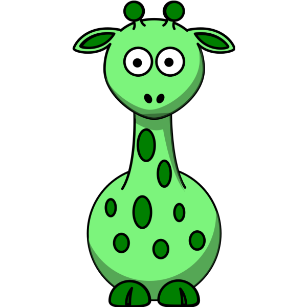 Green Giraffe With 12 Dots PNG images