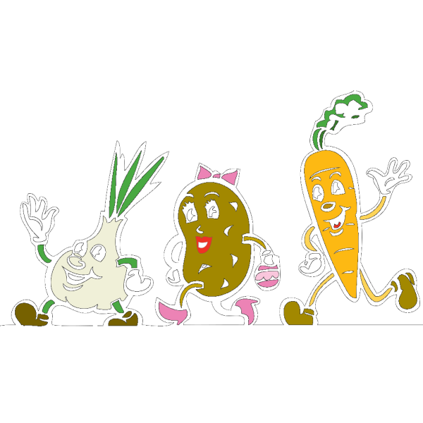 Cartoon Veggies Running PNG images