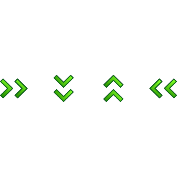 Green Double Arrows Set PNG icons