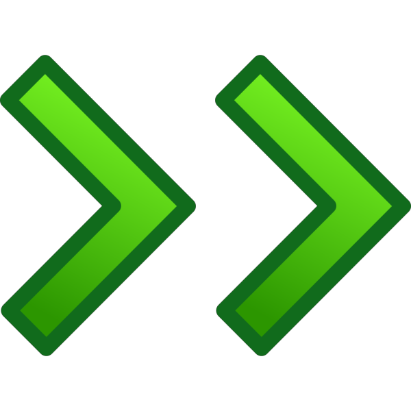 Green Right Double Arrows Set PNG Clip art