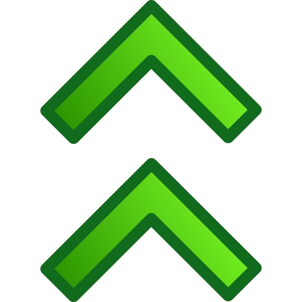Green Up Double Arrows Set PNG icons