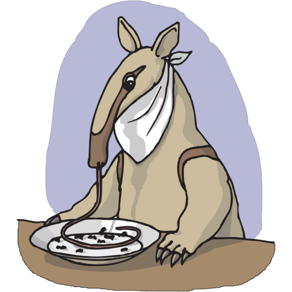 Anteater Eating From A Plate PNG Clip art