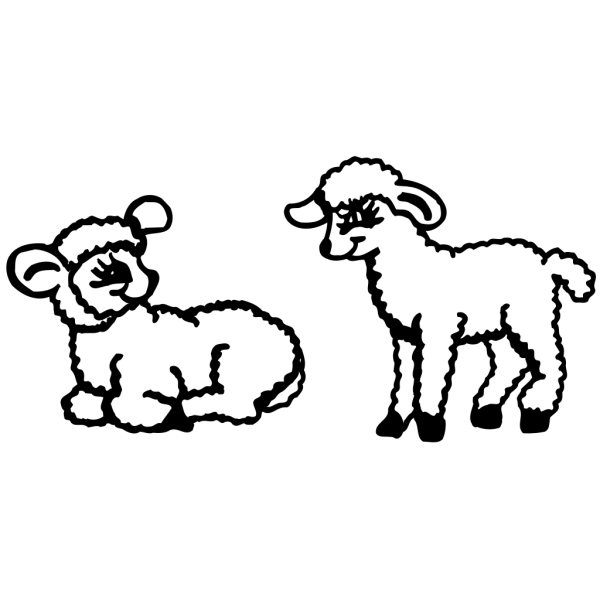 Two Lambs PNG Clip art