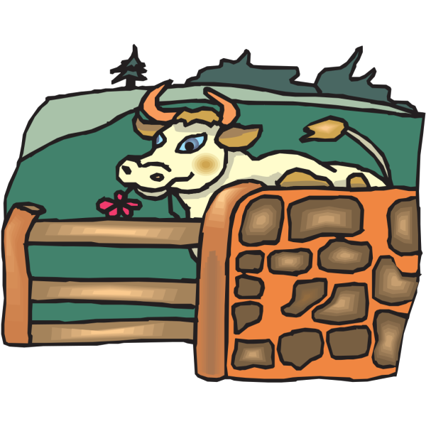 Cow In A Pasture PNG Clip art