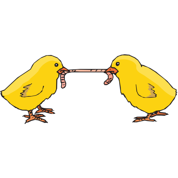 Chicks Fighting For A Worm PNG Clip art