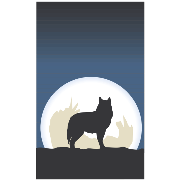 Coyote With Moon PNG Clip art