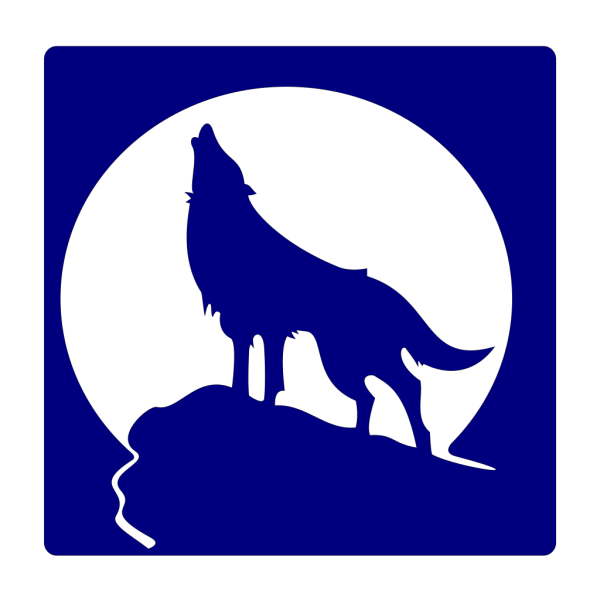 Blue Wolf Silhouette To The Moon PNG Clip art
