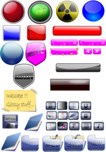 Mixed Gloss Icons And Buttons PNG Clip art
