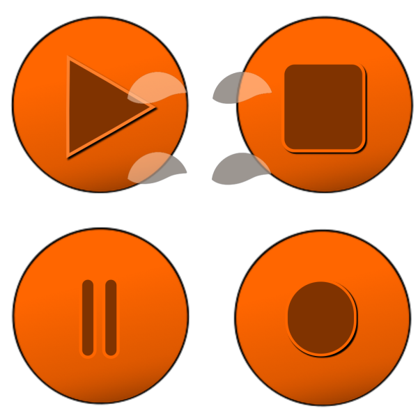 Orange Glossy Buttons PNG Clip art