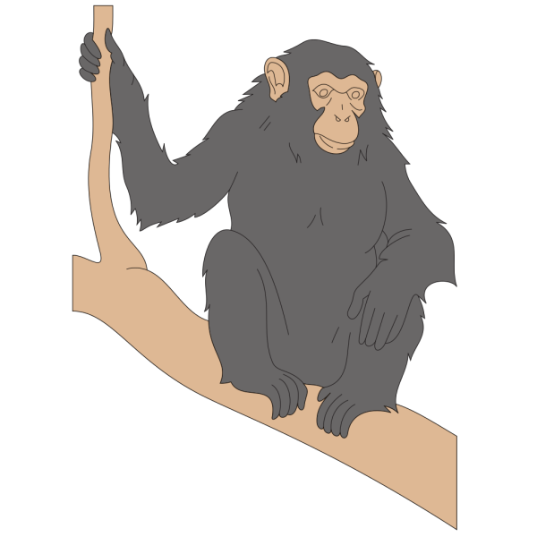 Chimp Sitting On A Branch PNG Clip art