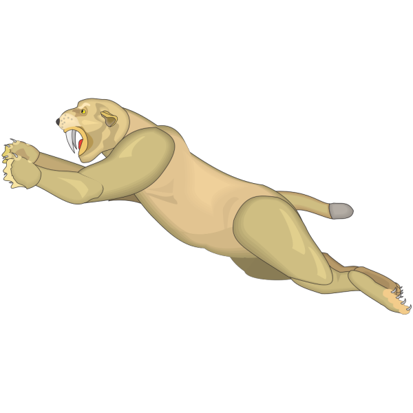 Leaping Machairodus PNG Clip art