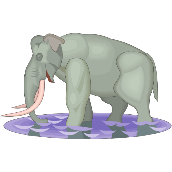 Mammuthus Imperator Walking In Water PNG Clip art