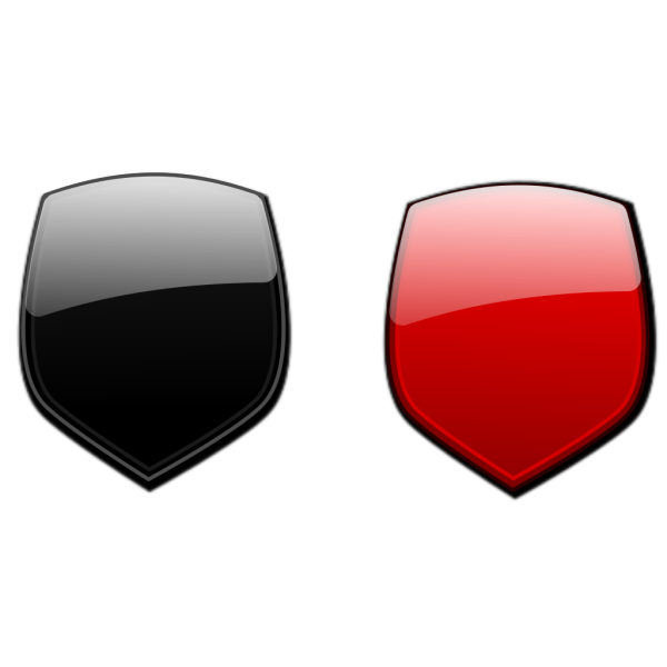 Black Red Glossy Shields PNG Clip art