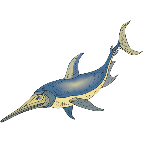 Blue And Yellow Ichthyosaurus PNG Clip art