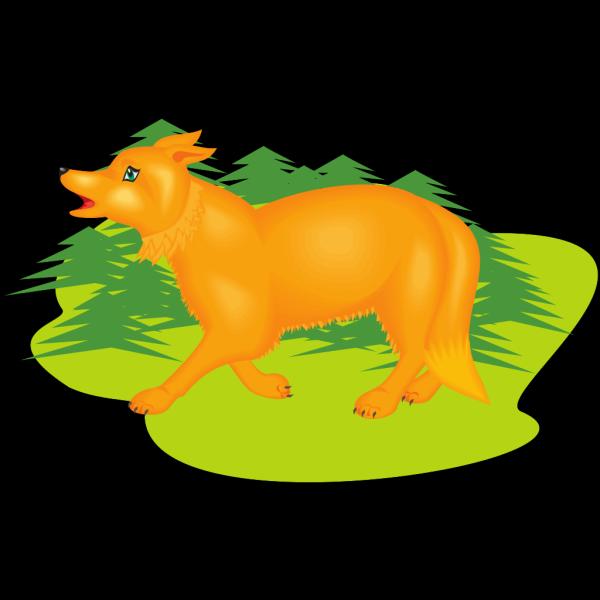 Digital Walking Fox PNG Clip art