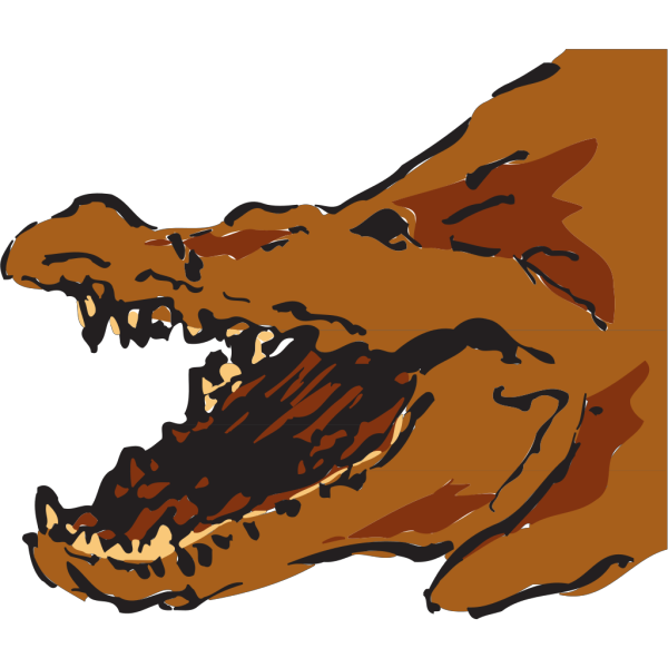 Brown Alligator With Mouth Open PNG Clip art