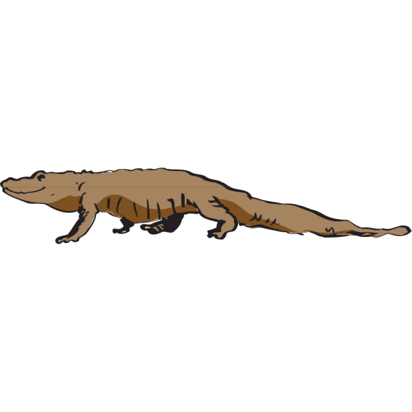 Brown Alligator Walking PNG Clip art