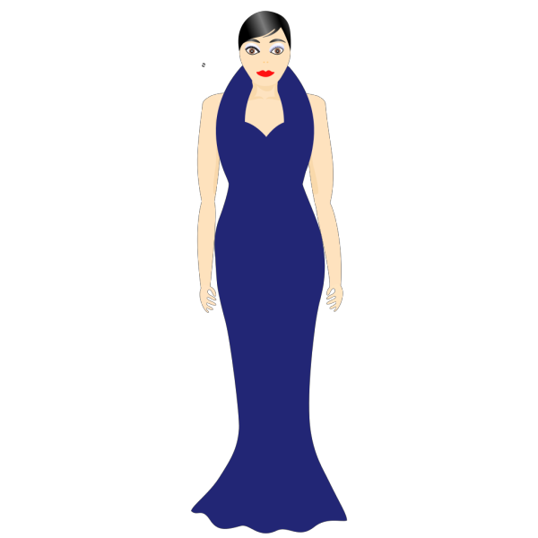 Woman In A Blue Dress PNG Clip art