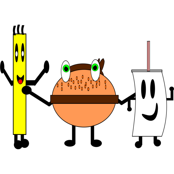 A Burger Sandwich, Fries And A Drink PNG icons