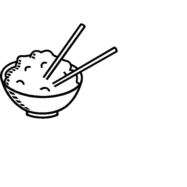 Rice Bowl Black And White PNG Clip art