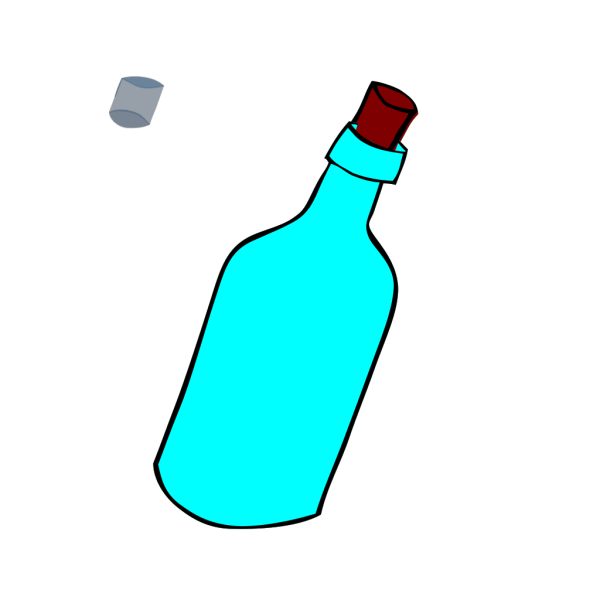 Glass Blue Bottle Full Of Water PNG Clip art