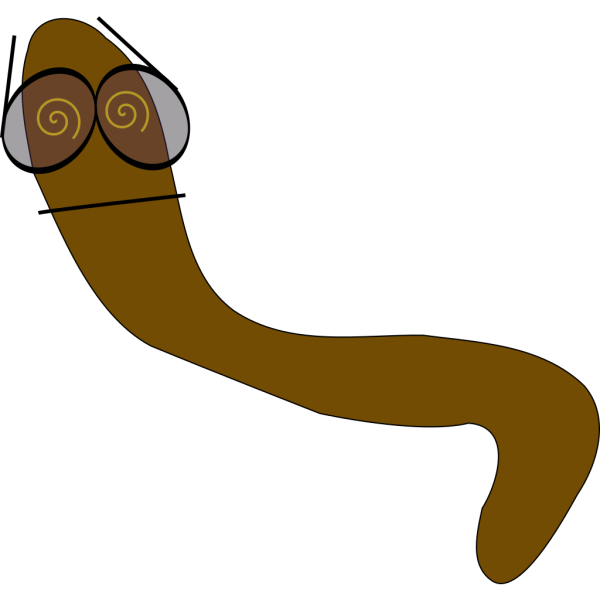 Worm With Crazy Glasses PNG Clip art